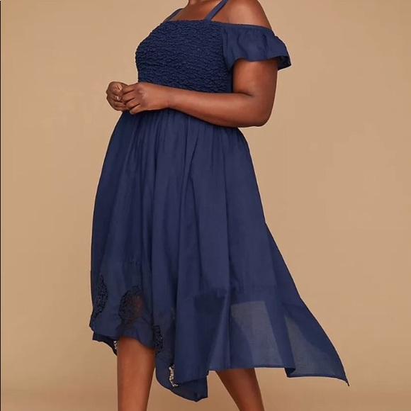 Lane Bryant Blue Dress OffShoulder Plus Size 26 28 Boutique